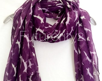 Skinny Fox Purple Scarf / Summer Scarf / Spring Scarf / Gift For Her / Womens Scarves / Fashion Accessories