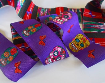 """Woven Jacquard Ribbon   1-1/2"""" Purple Multi   Day of the Dead   One yard"""