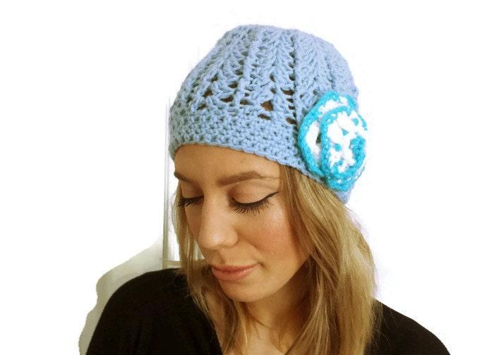 cap blue crochet hat floral trendy beanie by