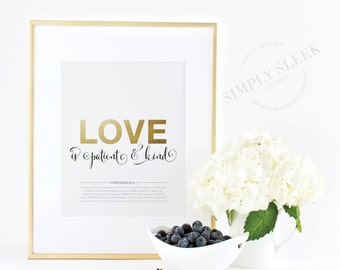 "Biblical love inspired gold foil print – ""Love is patient and kind"" 1 Corinthians 13:4-7"