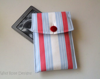 Red, white and blue striped Kindle case. Kindle cover, Kindle sleeve.