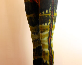 Unique tie-dyed footless leggings/ tights in viscose/ spandex blend/ green & brown