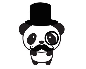 Tophat Monocle Mustache Panda Custom Die Cut Vinyl Decal Sticker - Choose your Color and Size