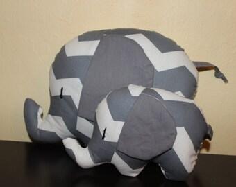 Grey chevron/grey ears mommy and mini stuffed elephant/nursery decor