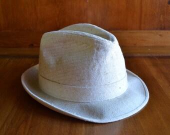 Vintage Light Tan Linen Dobbs Fedora Style Hat