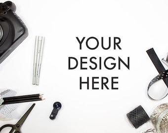 Styled Stock Photo Black White / Desktop Stock Photo / Styled Photography / Website Background / Product Mockup / Desktop Image / Minimalist