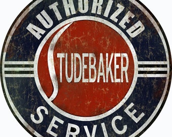 """RG578 Reproduction Authorized Studebaker Service Station Gas And Motor Oil Sign 14"""" Round Metal"""