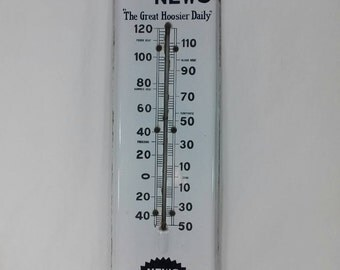RARE Vintage porcelain Indianapolis newspaper advertising thermometer Indiana news the great Hoosier daily sign