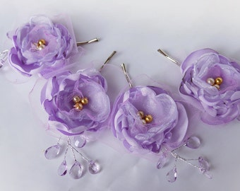Wedding Fabric Flower Hair Pin Bridal Accessories Lilac Purple Lavender