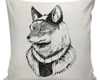 Fox Anthropomorphism Cushion Pillow Cover cotton canvas throw pillow 18 inch square #UE0354 Miss Mabel Lane Fox Downton Urban Elliott
