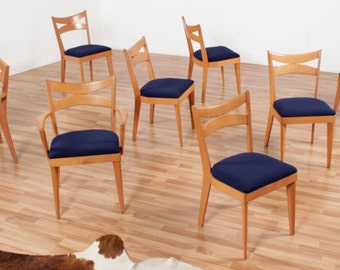 Set of 8 Reupholstered Heywood Wakefield Dining Chairs