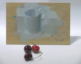 Original oil painting by Juanma Perez over solid wood. Cup on massive oak