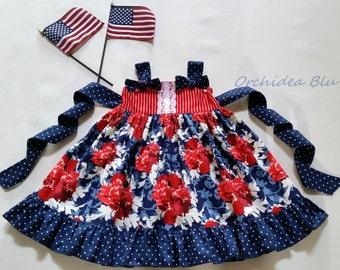 Girls 4th of July Dress , Knot Dress, Ellie Dress, Patriotic dress, Holiday dress, Summer Dress