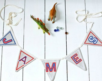 Cross stitch alphabet bunting PDF pattern in red, white and blue