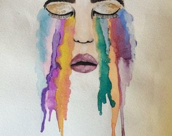 C R Y I N G Rainbow print
