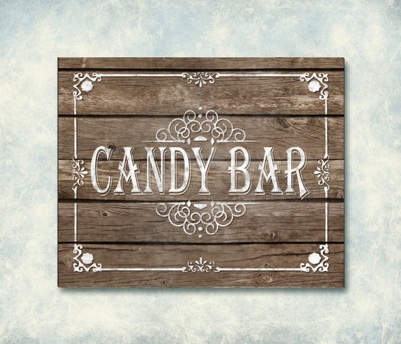 Wooden Printable Wedding Candy Bar Sign by SasafrasPrintables