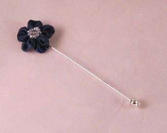 Navy Blue Flower Lapel Pin - Men's Accessories- Everyday/Weddings/Proms