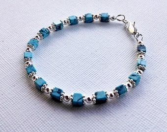 Turquoise and silver bracelet, beaded bracelet, boho chic turquoise bracelet, beaded friendship bracelet, gemstone beaded bracelet
