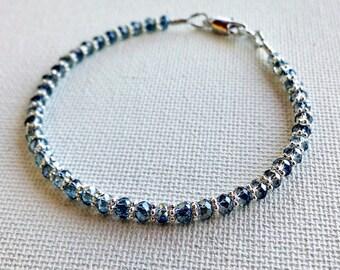 Blue grey crystal bracelet, crystal friendship bracelet, beaded crystal bracelet, delicate stacking bracelet, simple beaded bracelet