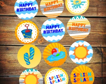 Pool Party Cupcake Toppers, Splash Party Decorations, Splish Splash Birthday Decor, Cupcake Toppers, Pool Party Decorations, Splish Splash
