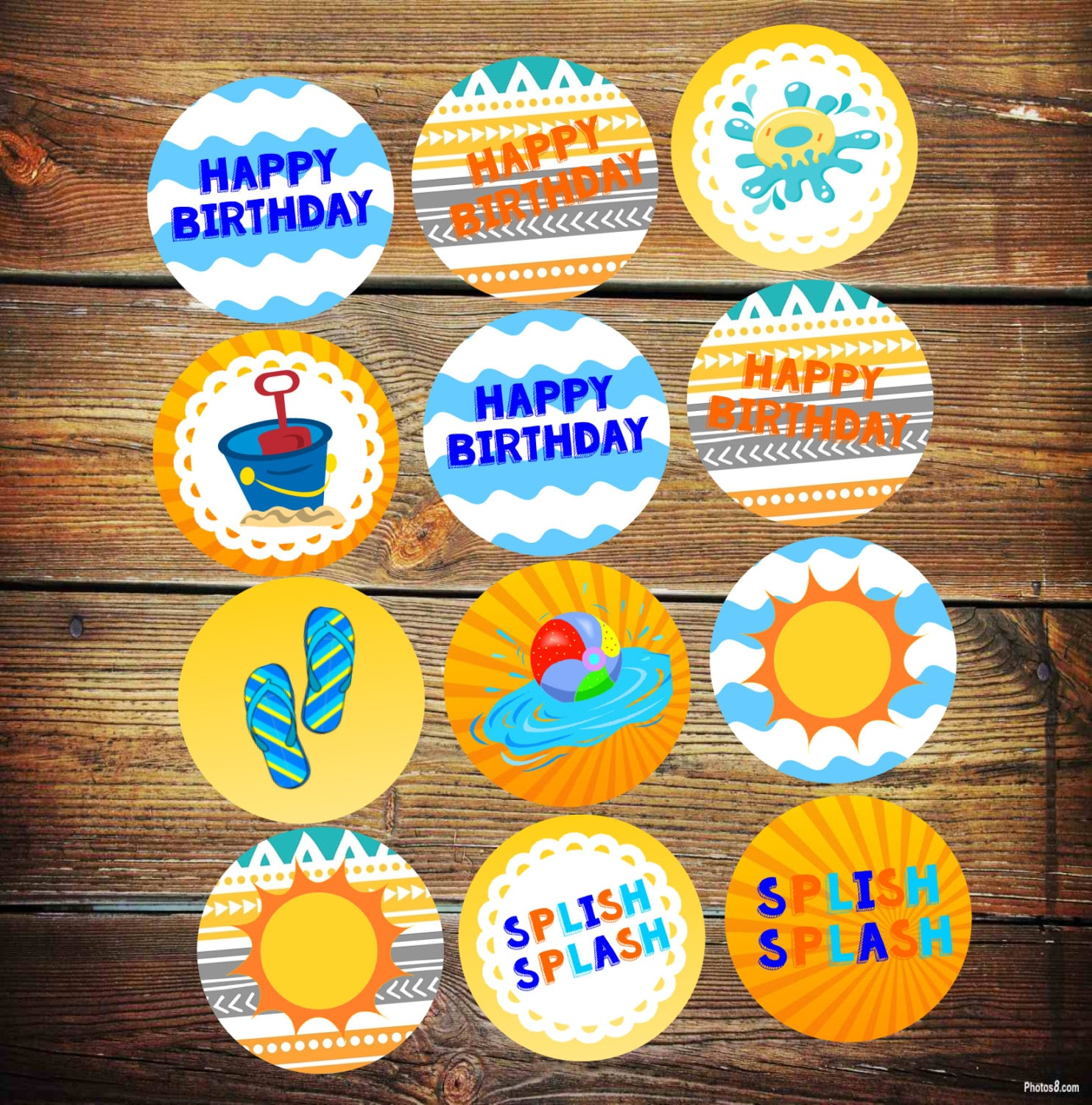 Pool Party Cupcake Toppers Splash Party Decorations Splish