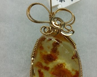 Amber pendant necklace in 14K gold filled wire