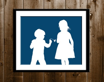 Custom Brother and Sister Silhouette Print, Sibling Silhouette, Silhouette Portrait from your Photo, Father's Day Gift, Children Silhouette