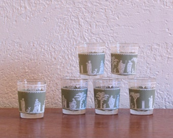 Jeannette Glass Hellenic Green Shot  Glasses (set of 6)