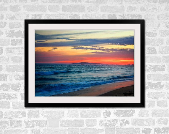 Huntington Beach Wall Decor : Huntington beach vibrant sunset photography print