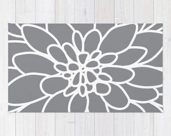 Modern Dahlia Flower Rug Area Rug - Slate Grey and White Flower Rug - Modern Flower Rug - Abstract Flower Area Rug - Home Decor