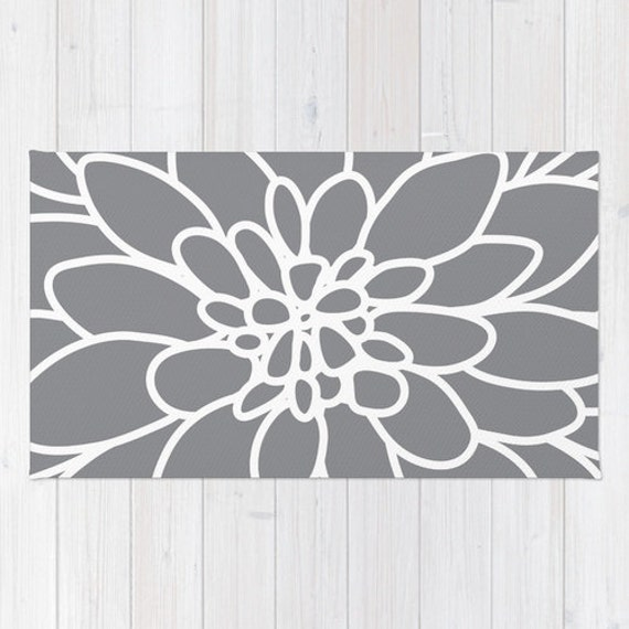 Modern Dahlia Flower Rug Area Rug Slate Grey And White
