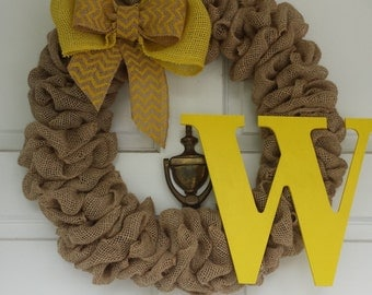 Burlap Wreath. Initial Wreath, Monogram Wreath