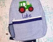 Seersucker Backpack with Tractor, Seersucker Diaper Bag, Seersucker School Bag, Seersucker Bag, Diaper Bag, School Bag, Book Bag, Backpack