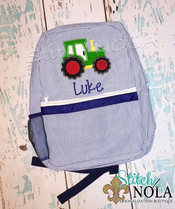 Seersucker Backpack with Tractor, Seersucker Diaper Bag, Seersucker School Bag, Seersucker Bag, Diaper Bag, School Bag, Book Bag, Backpack