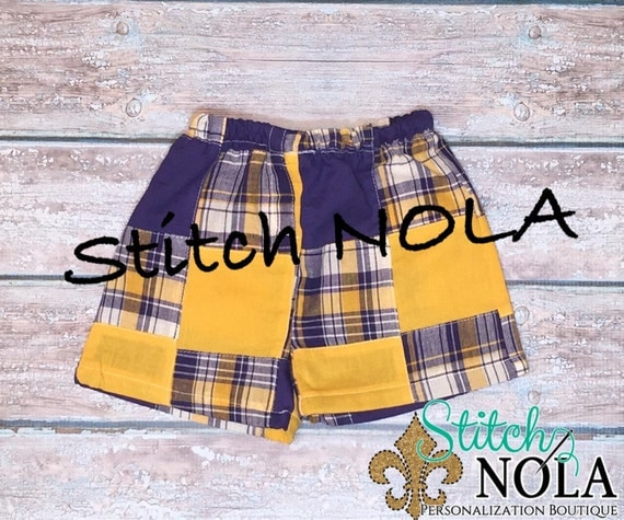 Purple and Gold Plaid Shorts