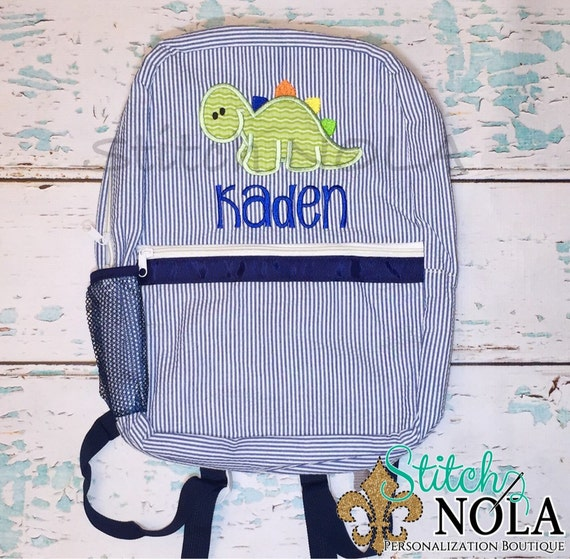 Seersucker Backpack with Baby Dinosaur, Seersucker Diaper Bag, Seersucker School Bag, Seersucker Bag, Diaper Bag, School Bag, Book Bag, Back