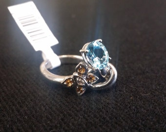 Brand New Sterling Silver Yellow & Blue Topaz with Diamonds 925