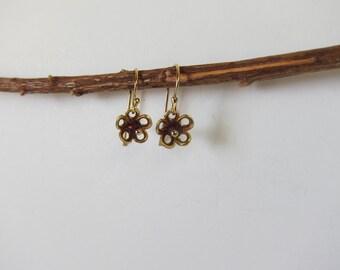 Garnet 14K Gold Filled Flower Handmade  Earrings