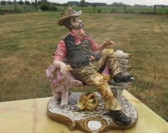 Vintage Large Capodimonte Figurine Hobo Drunk Enjoying Life Old Man Signed
