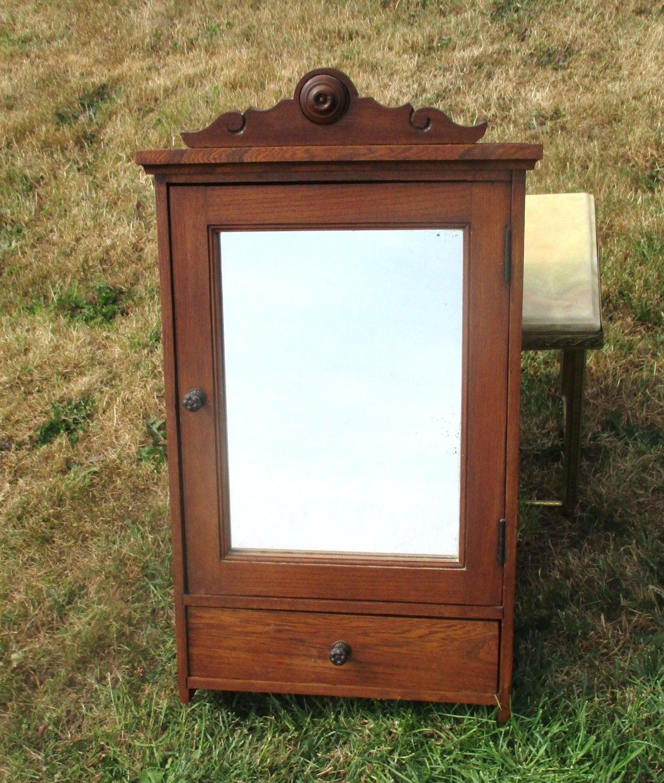 antique carved wood medicine bathroom cabinet mirror