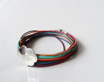 Hammered Silver Cloud Bracelet with Rainbow Colors Leather Cord-Brown Leather Cord-Handmade Gift-Birthday Gift-Teen Girl Gift