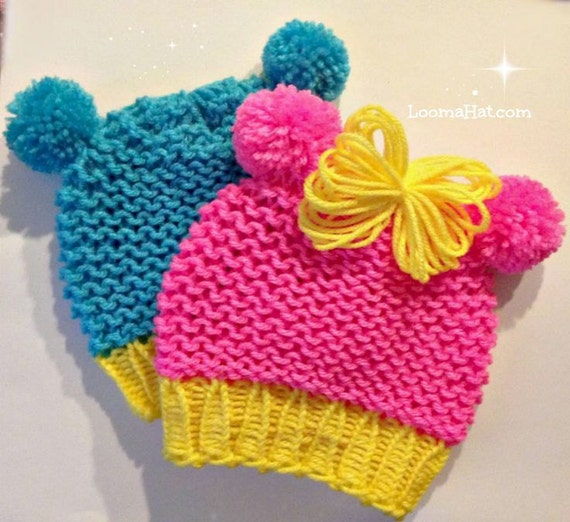Loom Knit Child Hat Pattern : Loom Knit Mouse Ears Kids Hat PATTERN with Video Tutorial