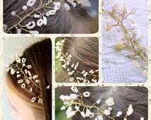 Flowergirl headdress peach and white beaded crown headband hair accessories wedding accessories bridal accessories confirmation headdress