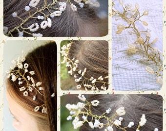 Flowergirl headdress peach and white beaded crown headband hair accessories wedding accessories bridal accessories first communion headdress