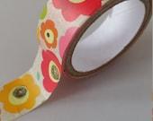 Flower Washi Tape - 2 meters - 15mm Width Pink Orange Washi Tape Deco Tape