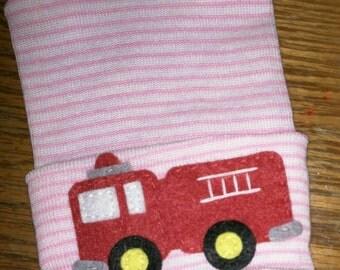 NEWBORN Hospital Hat. Newborn Hospital Beanie.  Baby Girl Hat with Firetruck Applique.  Great Gift.