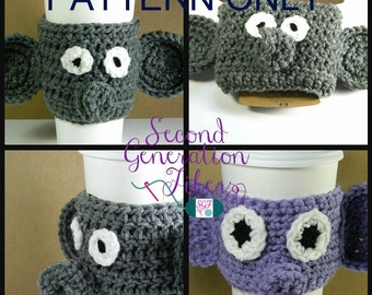 Elephant coffee cozy crochet pattern