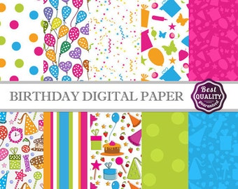 Happy Birthday digital paper pack * w/birthday patterns, to use in scrapbooking, card making and backgrounds * Printable, Instant Download