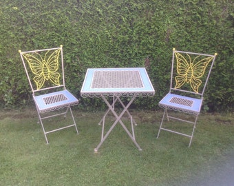 "Oh La La !!, Vintage French, Garden Patio Furniture ""Salon de Jardin"", Circa 1940's, Forged Iron, with Wood Inlay. Papillon (Butterfly)."