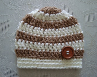 Crochet boy hat, newborn boy hat, striped boy hat, boy take home outfit,winter baby boy hat, newborn hat, boy hospital hat